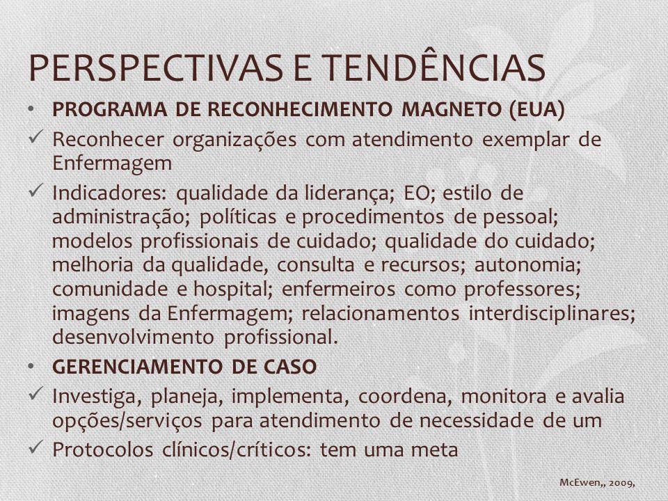 PERSPECTIVAS E TENDÊNCIAS PROGRAMA DE RECONHECIMENTO MAGNETO (EUA) Reconhecer organizações com atendimento exemplar de Enfermagem Indicadores: qualida