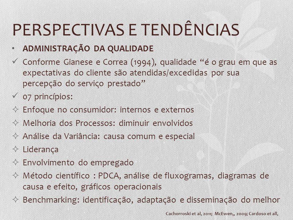 PERSPECTIVAS E TENDÊNCIAS ADMINISTRAÇÃO DA QUALIDADE Conforme Gianese e Correa (1994), qualidade é o grau em que as expectativas do cliente são aten