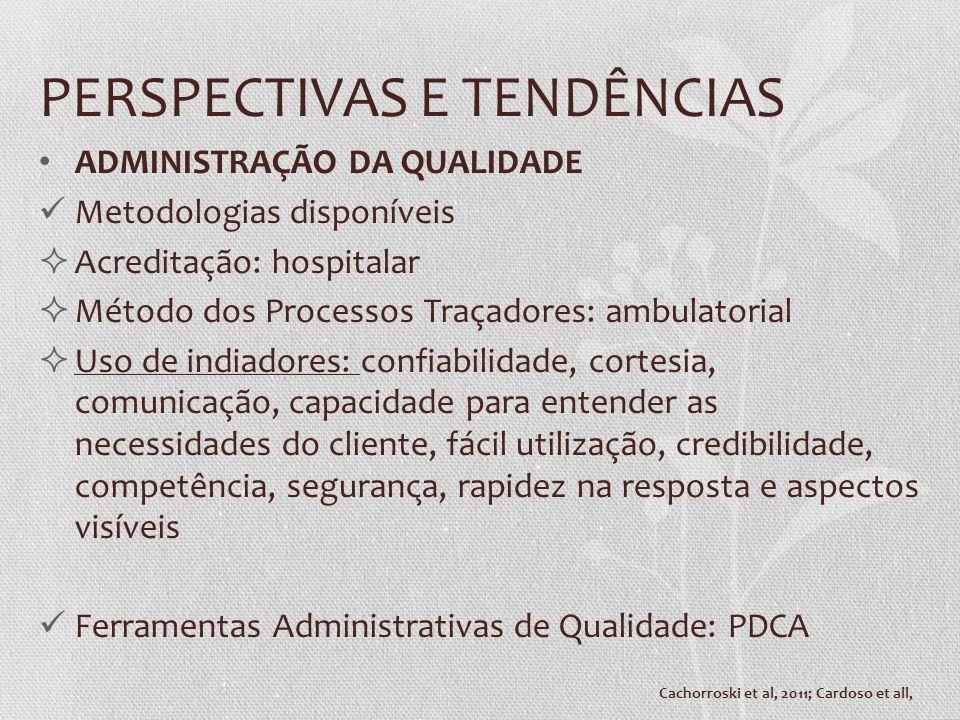 PERSPECTIVAS E TENDÊNCIAS ADMINISTRAÇÃO DA QUALIDADE Metodologias disponíveis Acreditação: hospitalar Método dos Processos Traçadores: ambulatorial Us
