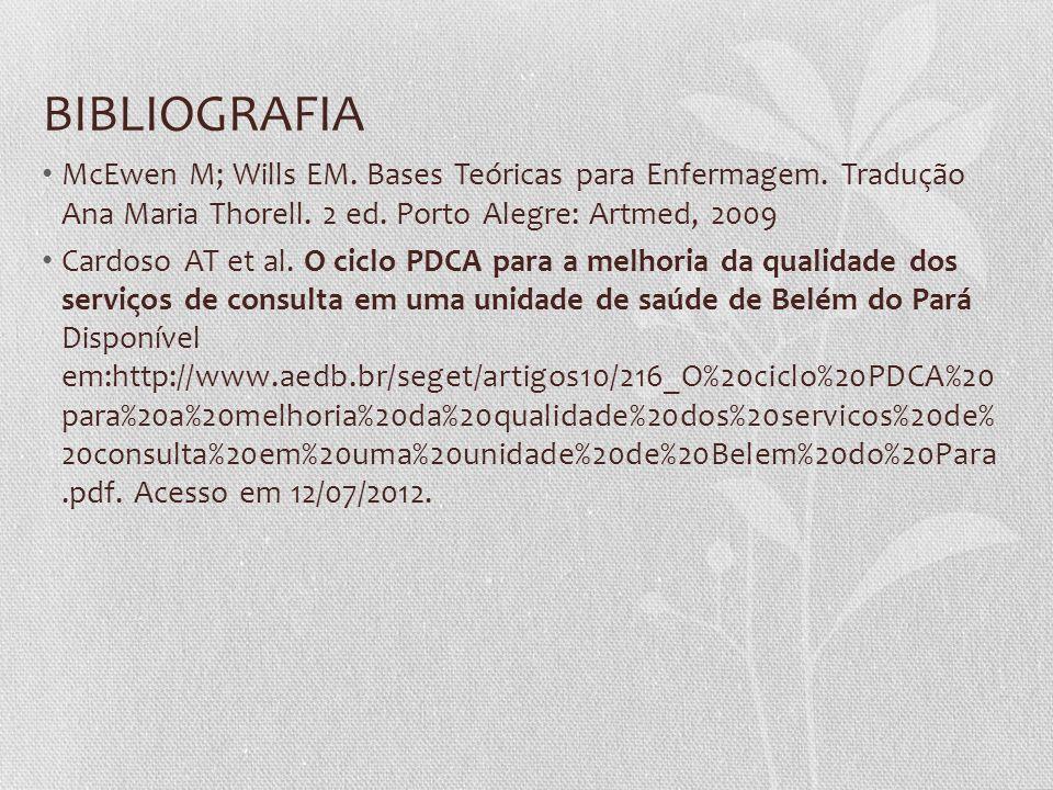 BIBLIOGRAFIA McEwen M; Wills EM. Bases Teóricas para Enfermagem. Tradução Ana Maria Thorell. 2 ed. Porto Alegre: Artmed, 2009 Cardoso AT et al. O cicl