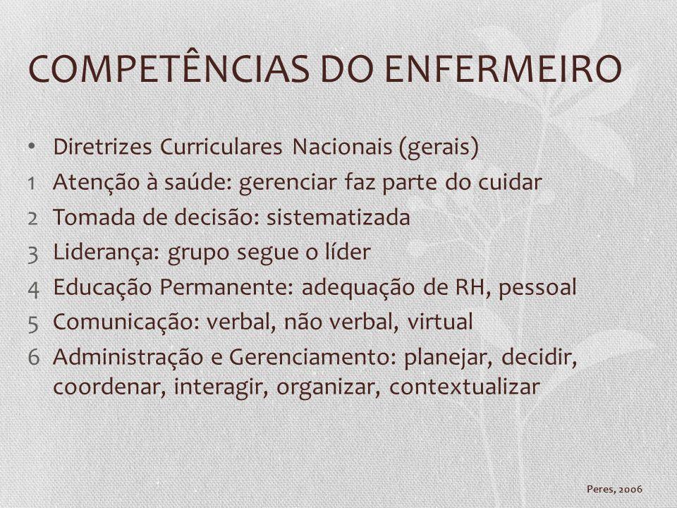 COMPETÊNCIAS DO ENFERMEIRO Diretrizes Curriculares Nacionais (gerais) 1Atenção à saúde: gerenciar faz parte do cuidar 2Tomada de decisão: sistematizad