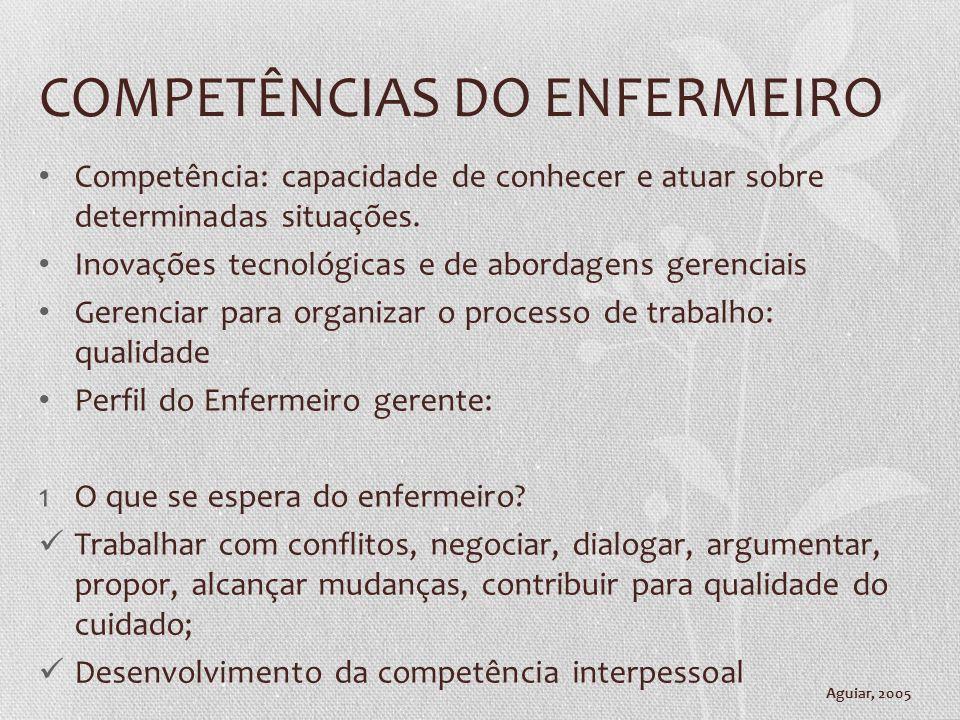 COMPETÊNCIAS DO ENFERMEIRO Competência: capacidade de conhecer e atuar sobre determinadas situações. Inovações tecnológicas e de abordagens gerenciais