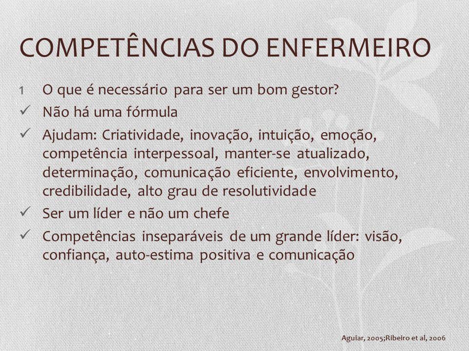 COMPETÊNCIAS DO ENFERMEIRO 1O que é necessário para ser um bom gestor? Não há uma fórmula Ajudam: Criatividade, inovação, intuição, emoção, competênci