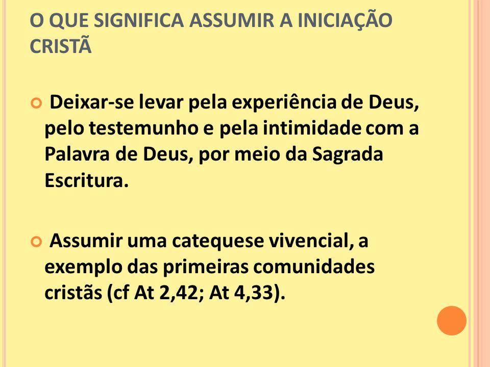 O QUE SIGNIFICA ASSUMIR A INICIAÇÃO CRISTÃ Deixar-se levar pela experiência de Deus, pelo testemunho e pela intimidade com a Palavra de Deus, por meio