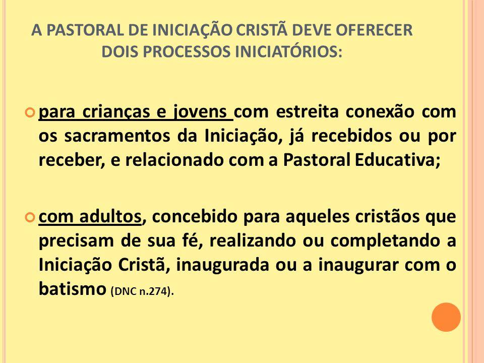 A PASTORAL DE INICIAÇÃO CRISTÃ DEVE OFERECER DOIS PROCESSOS INICIATÓRIOS: para crianças e jovens com estreita conexão com os sacramentos da Iniciação,