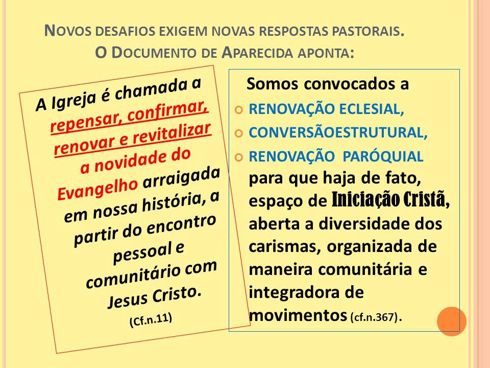 N OVOS DESAFIOS EXIGEM NOVAS RESPOSTAS PASTORAIS. O D OCUMENTO DE A PARECIDA APONTA : A Igreja é chamada a repensar, confirmar, renovar e revitalizar