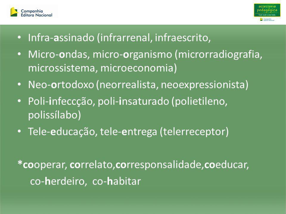 Infra-assinado (infrarrenal, infraescrito, Micro-ondas, micro-organismo (microrradiografia, microssistema, microeconomia) Neo-ortodoxo (neorrealista,