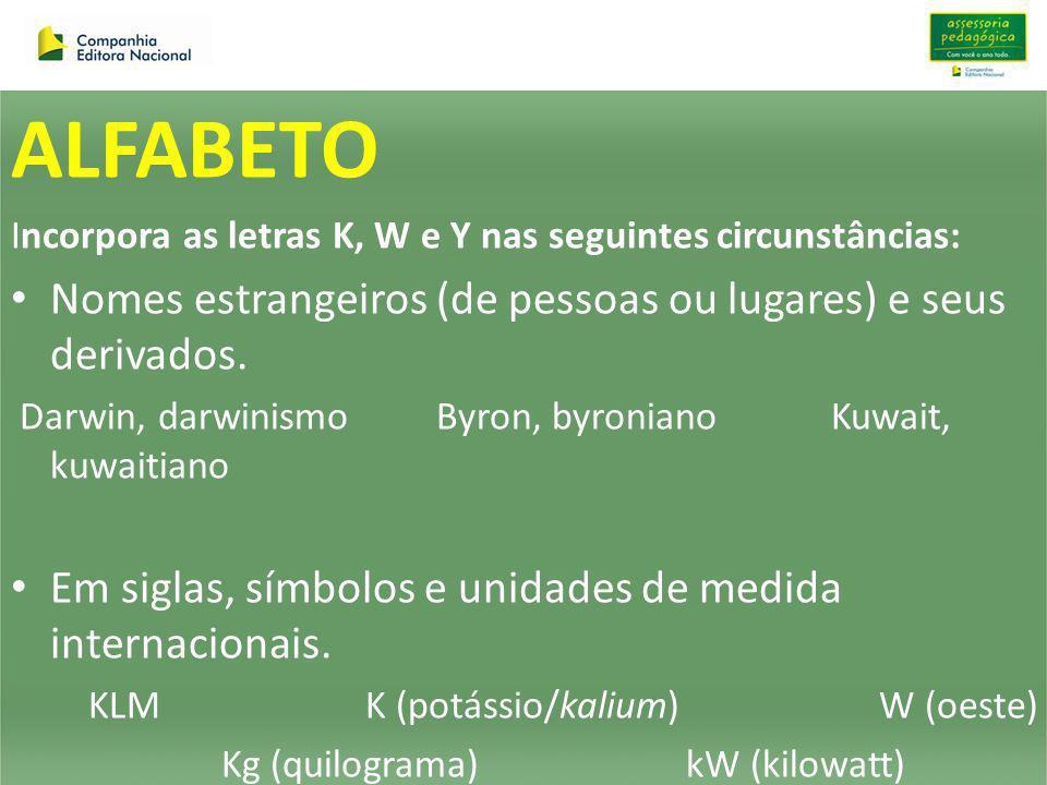ALFABETO Incorpora as letras K, W e Y nas seguintes circunstâncias: Nomes estrangeiros (de pessoas ou lugares) e seus derivados. Darwin, darwinismo By