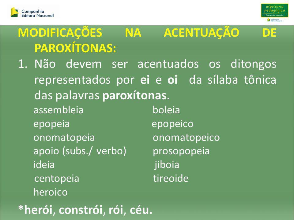 MODIFICAÇÕES NA ACENTUAÇÃO DE PAROXÍTONAS: 1.Não devem ser acentuados os ditongos representados por ei e oi da sílaba tônica das palavras paroxítonas.