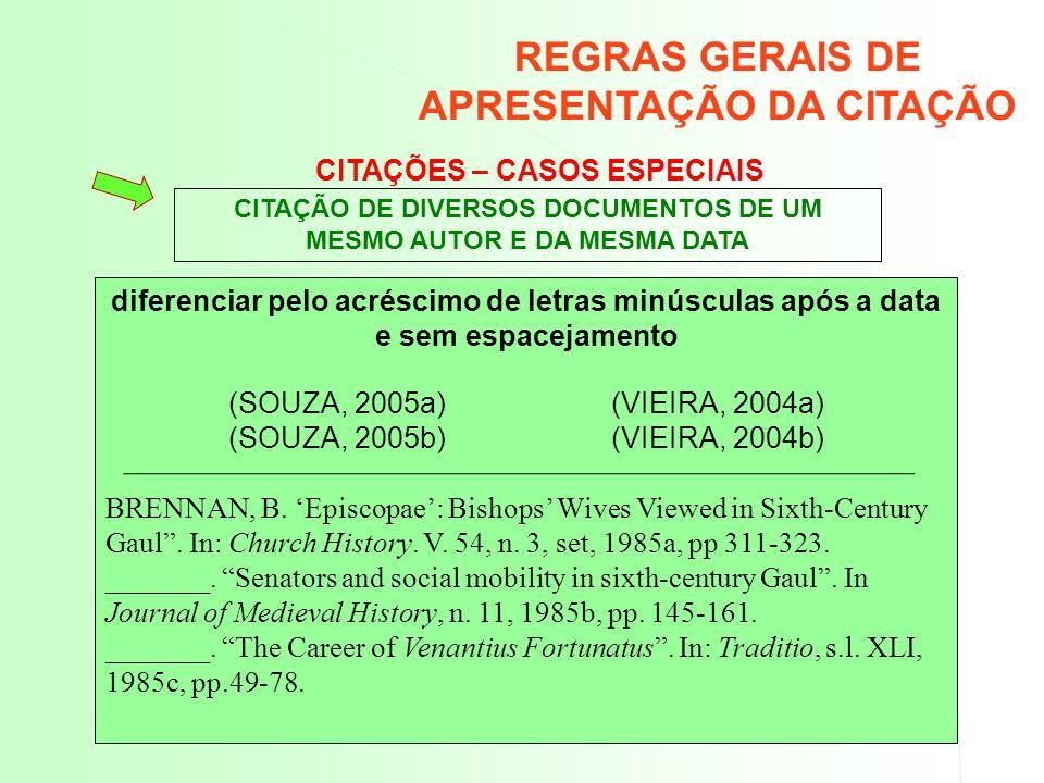CITAÇÕES – CASOS ESPECIAIS diferenciar pelo acréscimo de letras minúsculas após a data e sem espacejamento (SOUZA, 2005a) (VIEIRA, 2004a) (SOUZA, 2005