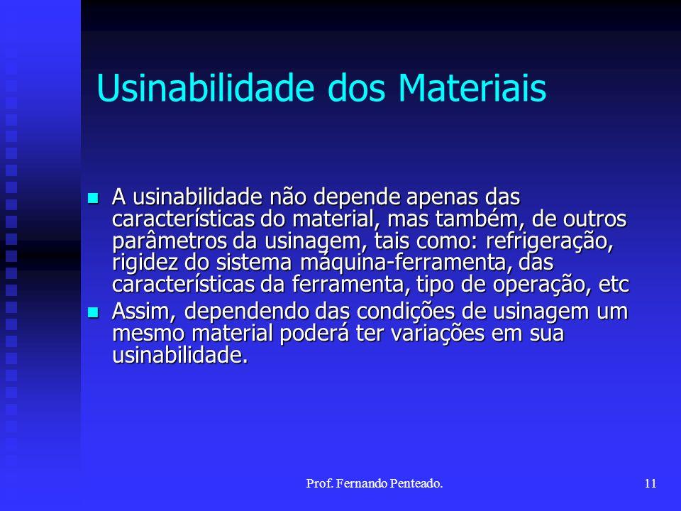 A usinabilidade não depende apenas das características do material, mas também, de outros parâmetros da usinagem, tais como: refrigeração, rigidez do