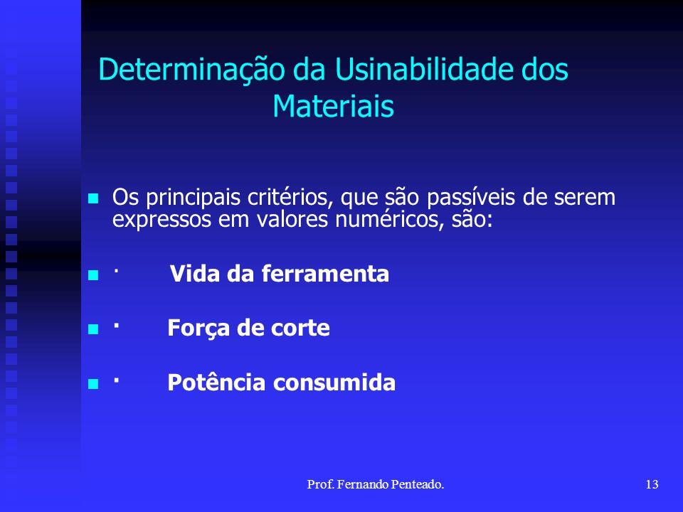 Os principais critérios, que são passíveis de serem expressos em valores numéricos, são: · Vida da ferramenta · Força de corte · Potência consumida De