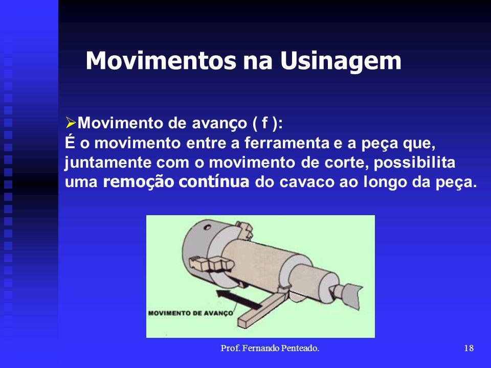 Movimento de avan ç o ( f ): É o movimento entre a ferramenta e a peça que, juntamente com o movimento de corte, possibilita uma remoção contínua do c