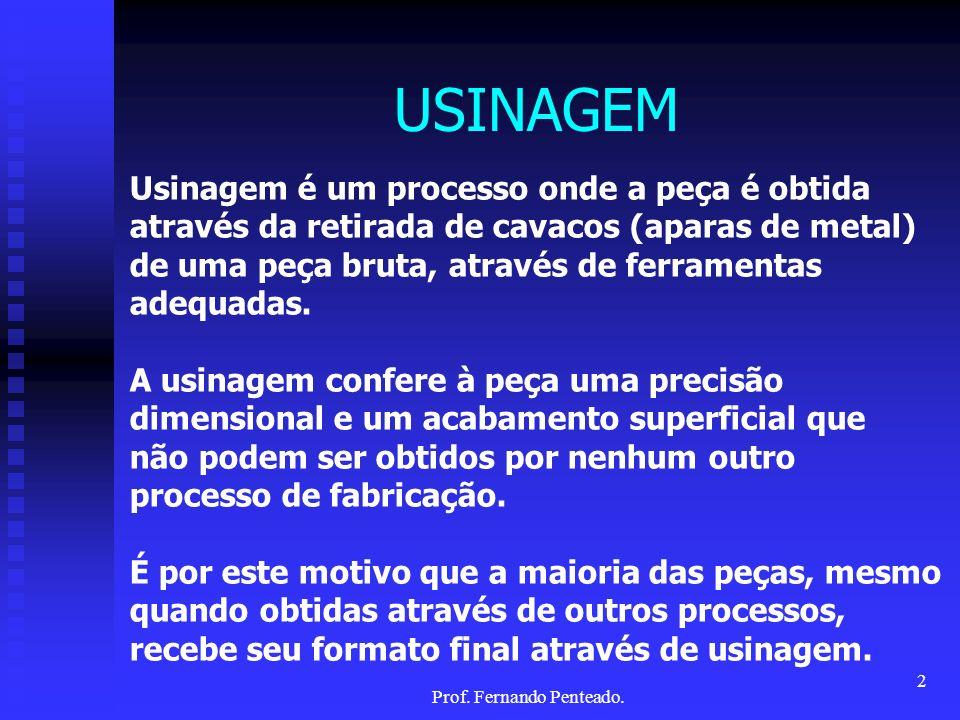 A USINAGEM NO CONTEXTO DOS PROCESSOS DE FABRICAÇÃO 3Prof. Fernando Penteado.