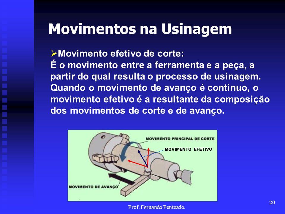 Movimentos na Usinagem Movimento efetivo de corte: É o movimento entre a ferramenta e a peça, a partir do qual resulta o processo de usinagem. Quando
