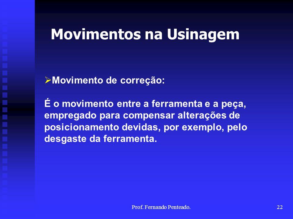 Movimento de correção: É o movimento entre a ferramenta e a peça, empregado para compensar alterações de posicionamento devidas, por exemplo, pelo des