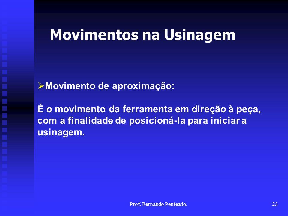 Movimento de aproximação: É o movimento da ferramenta em direção à peça, com a finalidade de posicioná-la para iniciar a usinagem. Movimentos na Usina