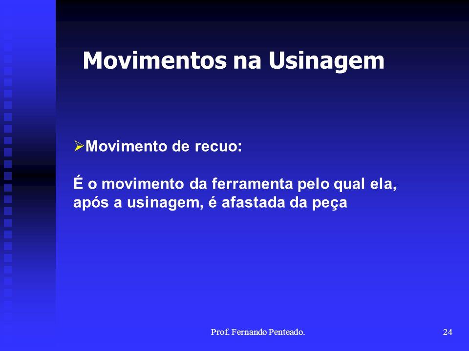 Movimento de recuo: É o movimento da ferramenta pelo qual ela, após a usinagem, é afastada da peça Movimentos na Usinagem 24Prof. Fernando Penteado.