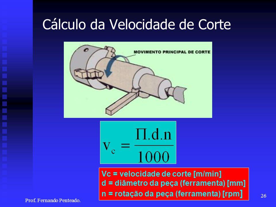 Cálculo da Velocidade de Corte Vc = velocidade de corte [m/min] d = diâmetro da peça (ferramenta) [mm] n = rotação da peça (ferramenta) [rpm ] 26 Prof