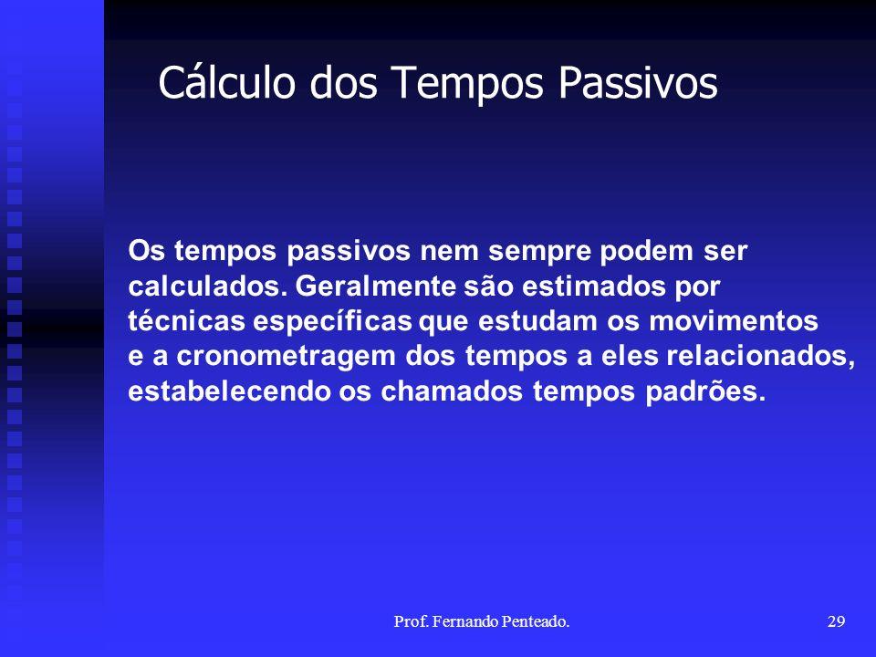 Cálculo dos Tempos Passivos Os tempos passivos nem sempre podem ser calculados. Geralmente são estimados por técnicas específicas que estudam os movim
