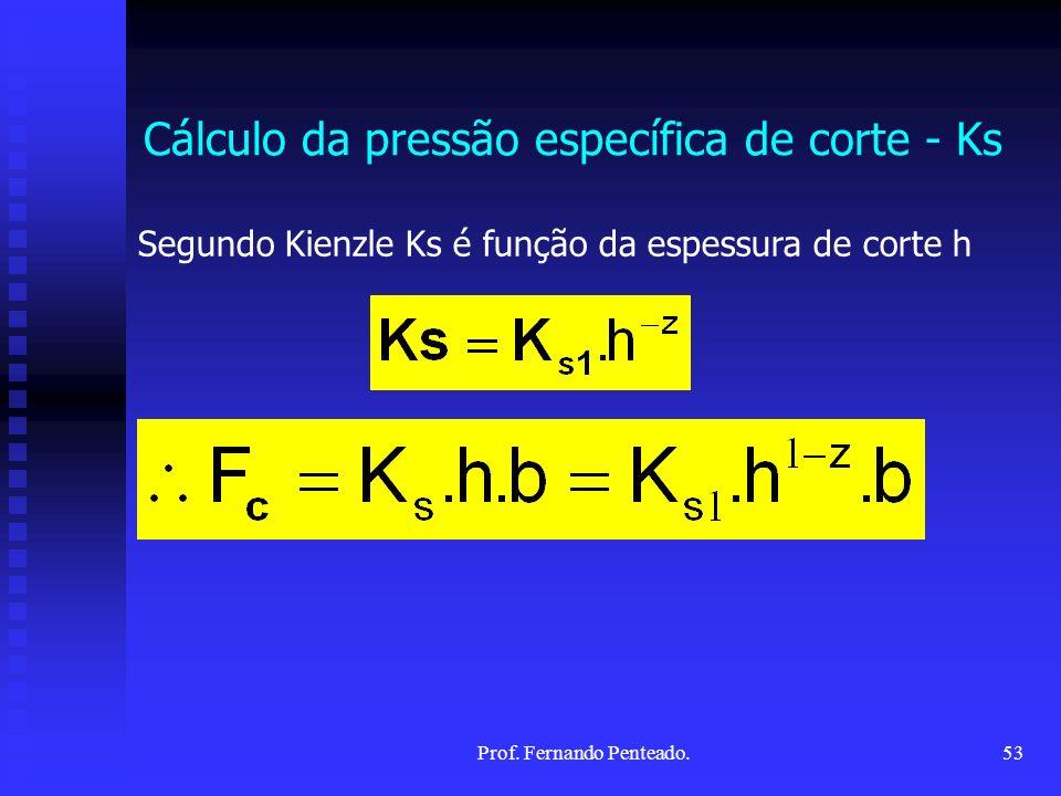 Cálculo da pressão específica de corte - Ks Segundo Kienzle Ks é função da espessura de corte h 53Prof. Fernando Penteado.