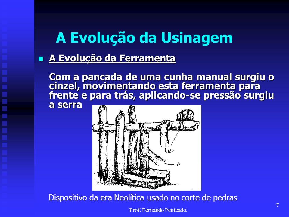 A Evolução da Usinagem A Evolução da Ferramenta Com a pancada de uma cunha manual surgiu o cinzel, movimentando esta ferramenta para frente e para trá