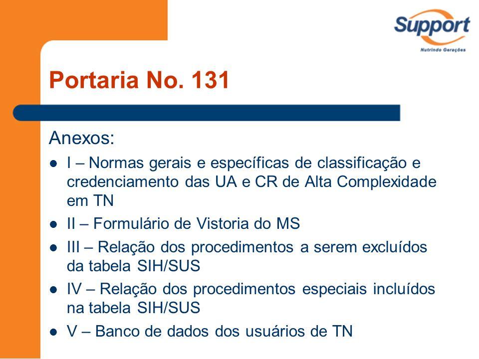 Portaria No. 131 Anexos: I – Normas gerais e específicas de classificação e credenciamento das UA e CR de Alta Complexidade em TN II – Formulário de V