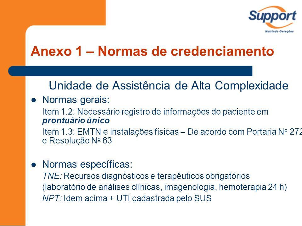 Unidade de Assistência de Alta Complexidade Normas gerais: Item 1.2: Necessário registro de informações do paciente em prontuário único Item 1.3: EMTN