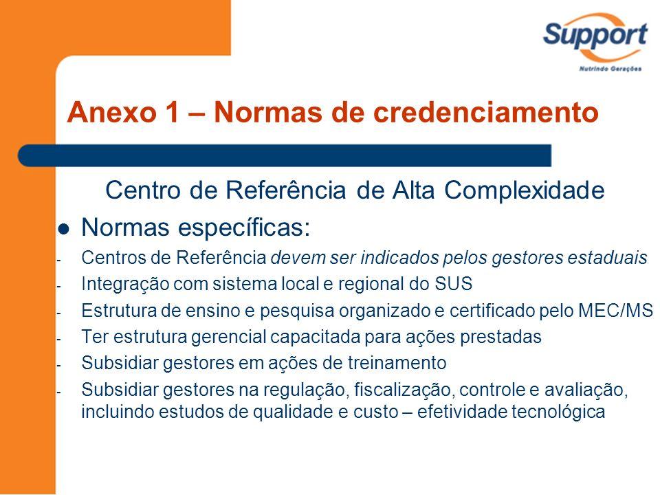 Centro de Referência de Alta Complexidade Normas específicas: - Centros de Referência devem ser indicados pelos gestores estaduais - Integração com si