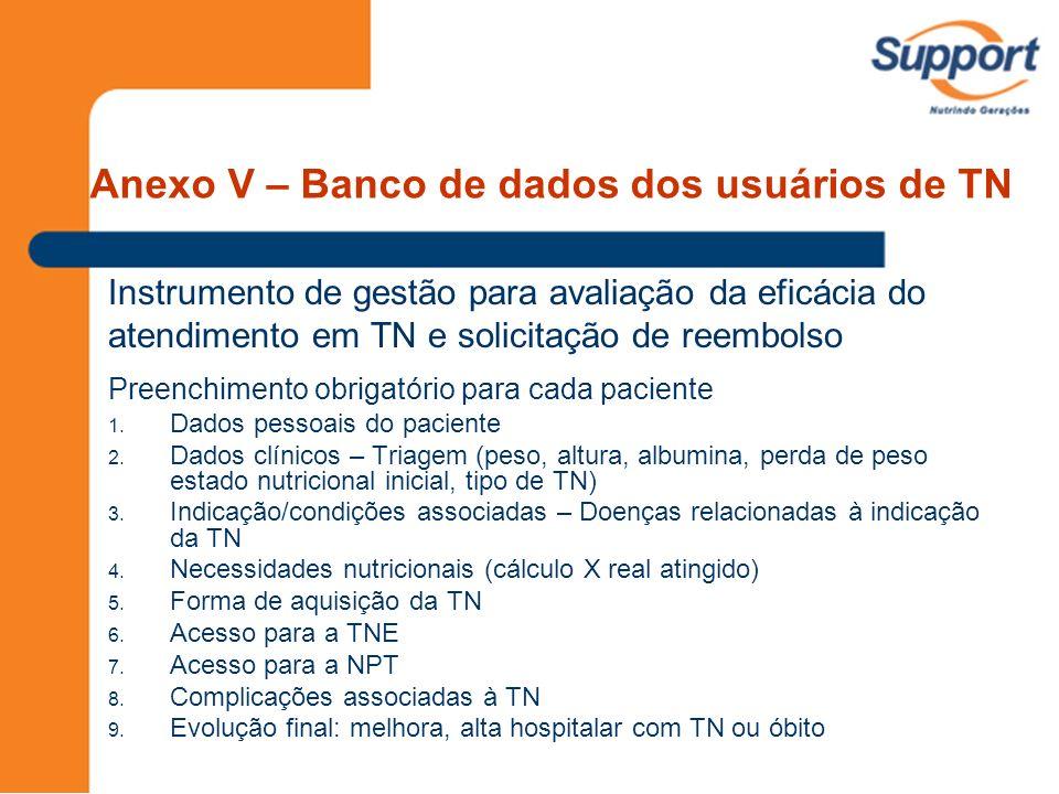 Anexo V – Banco de dados dos usuários de TN Instrumento de gestão para avaliação da eficácia do atendimento em TN e solicitação de reembolso Preenchim