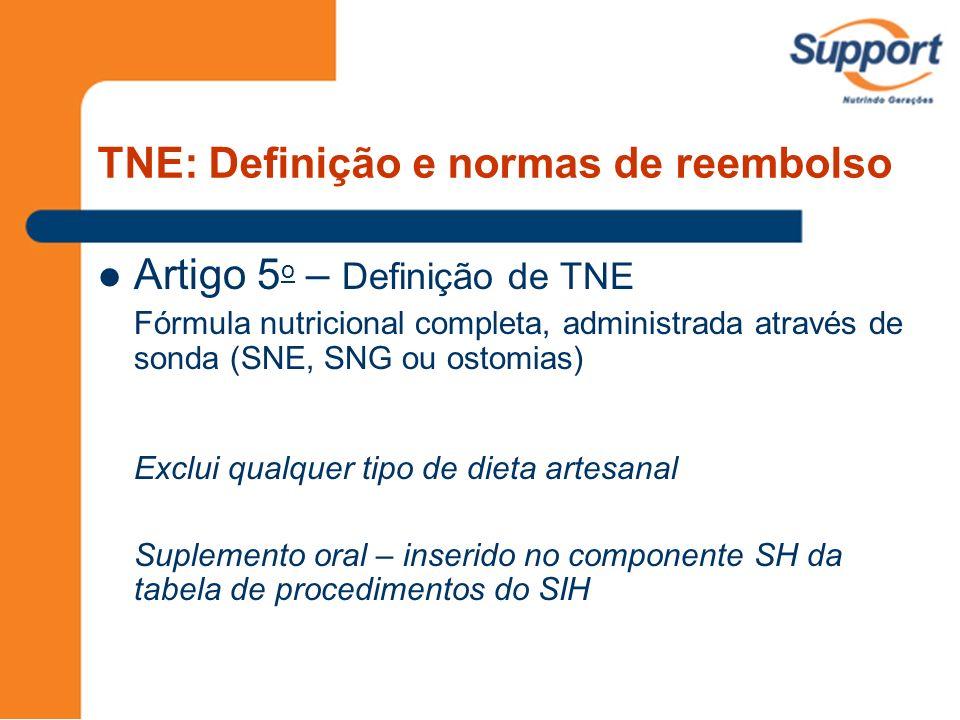 TNE: Definição e normas de reembolso Artigo 5 o – Definição de TNE Fórmula nutricional completa, administrada através de sonda (SNE, SNG ou ostomias)