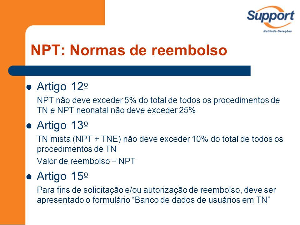 NPT: Normas de reembolso Artigo 12 o NPT não deve exceder 5% do total de todos os procedimentos de TN e NPT neonatal não deve exceder 25% Artigo 13 o