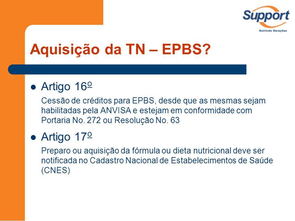 Aquisição da TN – EPBS? Artigo 16 o Cessão de créditos para EPBS, desde que as mesmas sejam habilitadas pela ANVISA e estejam em conformidade com Port