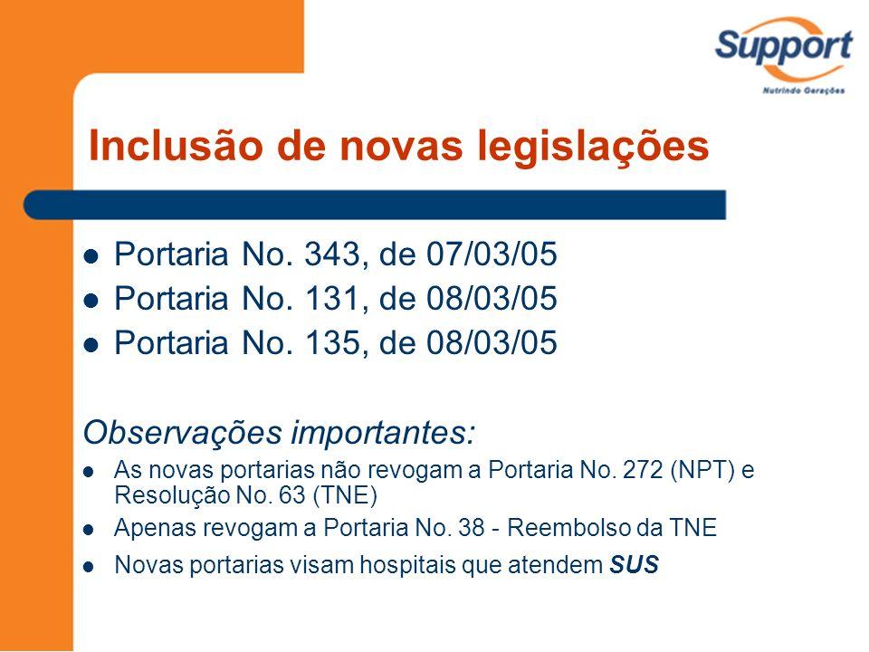 Anexo IV – Procedimentos especiais incluídos na tabela SIH/SUS - TNE CódigoProcedimentoProfissionalValor 98.003.01-1Passagem sonda NE + material Enfermeira e médico 28,00 98.003.02-0Gastrostomia Endoscópica Percutânea (PEG) Endoscopista505,00 (SP - 75,00) 98.301.01-2TNE pediátricaEMTN20,00 Artigo 8 o : Valor dos SH corresponde a todos os componentes, insumos, dietas, fórmulas, materiais especiais e RH TNE adulto e pediatria: Reembolso por 99 dias TNE Neonatal: Reembolso por 30 dias