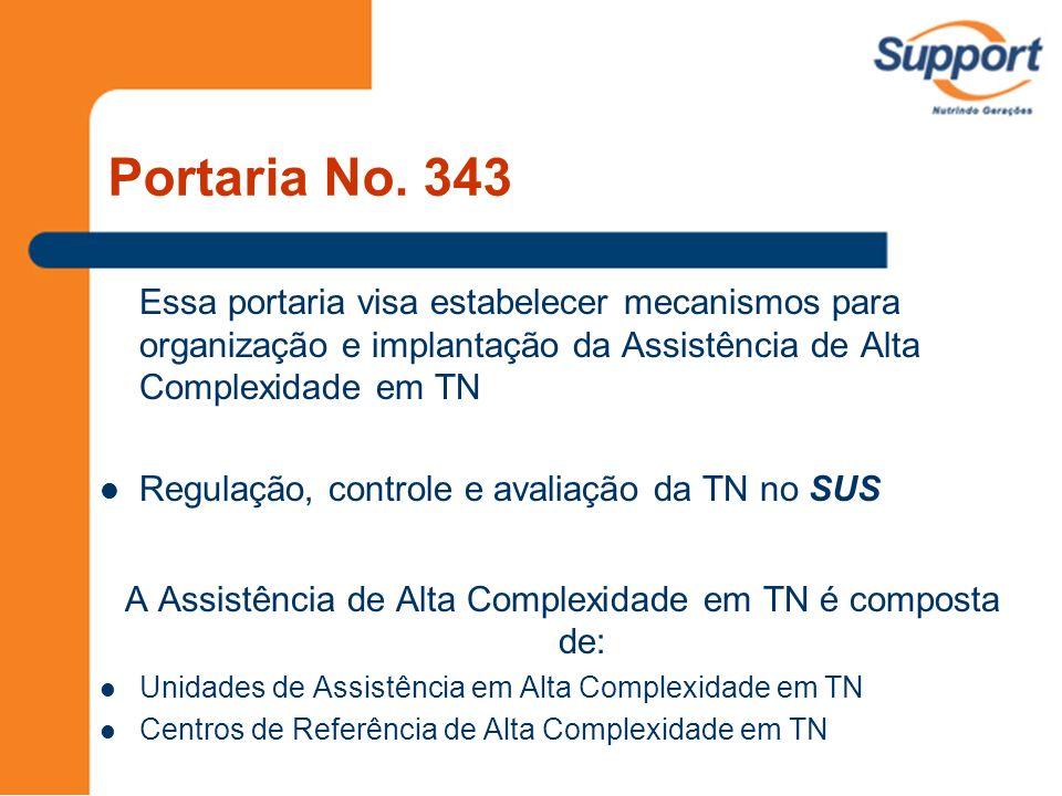 Portaria No. 343 Essa portaria visa estabelecer mecanismos para organização e implantação da Assistência de Alta Complexidade em TN Regulação, control