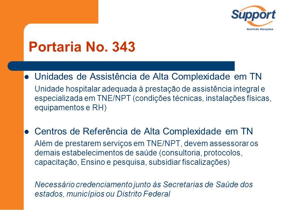 Portaria No. 343 Unidades de Assistência de Alta Complexidade em TN Unidade hospitalar adequada à prestação de assistência integral e especializada em