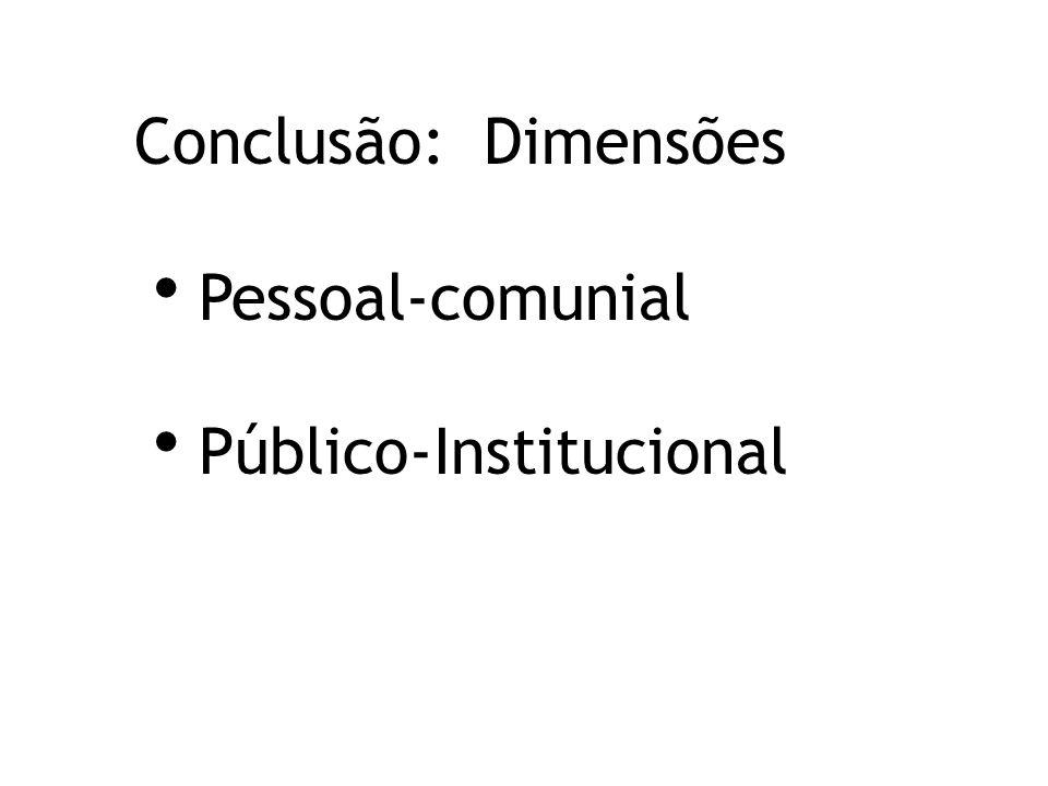 Conclusão: Dimensões Pessoal-comunial Público-Institucional