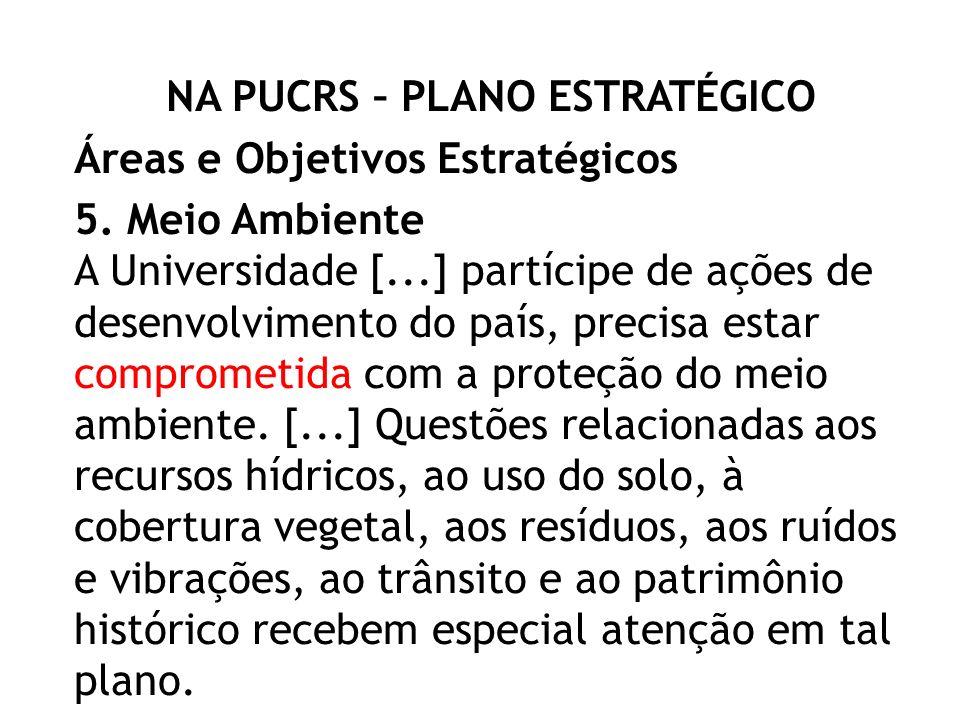 NA PUCRS – PLANO ESTRATÉGICO Áreas e Objetivos Estratégicos 5.