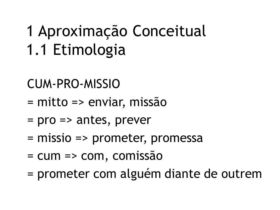 1 Aproximação Conceitual 1.1 Etimologia CUM-PRO-MISSIO = mitto => enviar, missão = pro => antes, prever = missio => prometer, promessa = cum => com, comissão = prometer com alguém diante de outrem