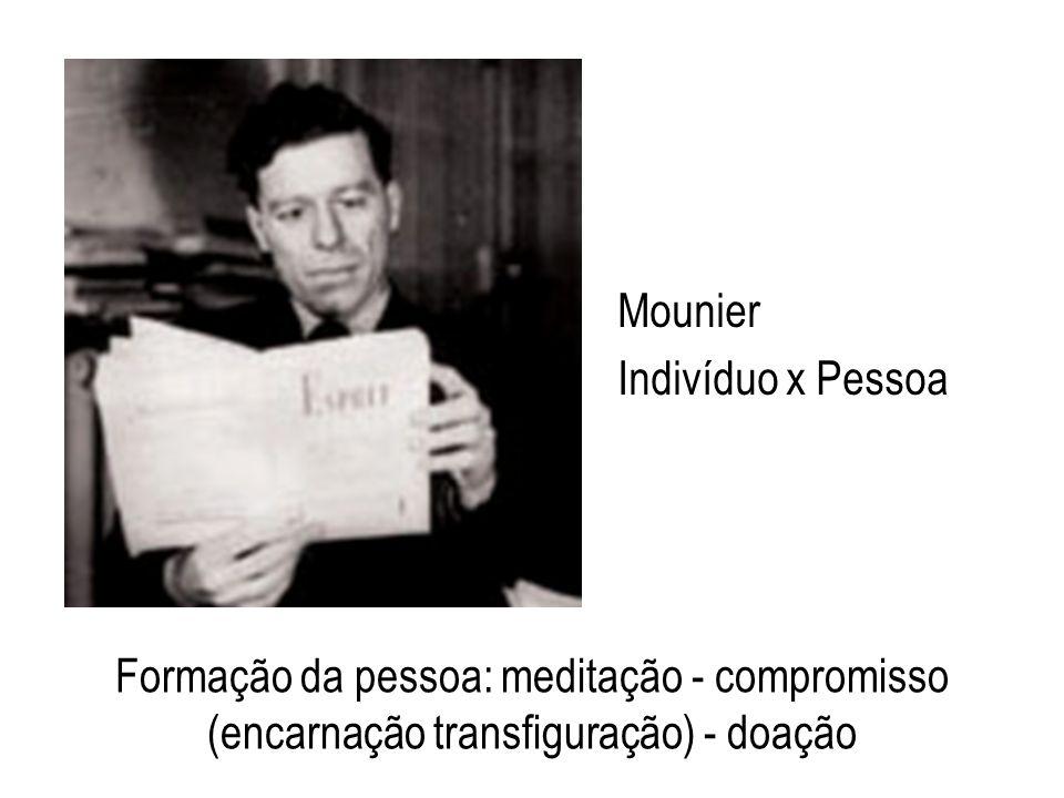 Mounier Indivíduo x Pessoa Formação da pessoa: meditação - compromisso (encarnação transfiguração) - doação