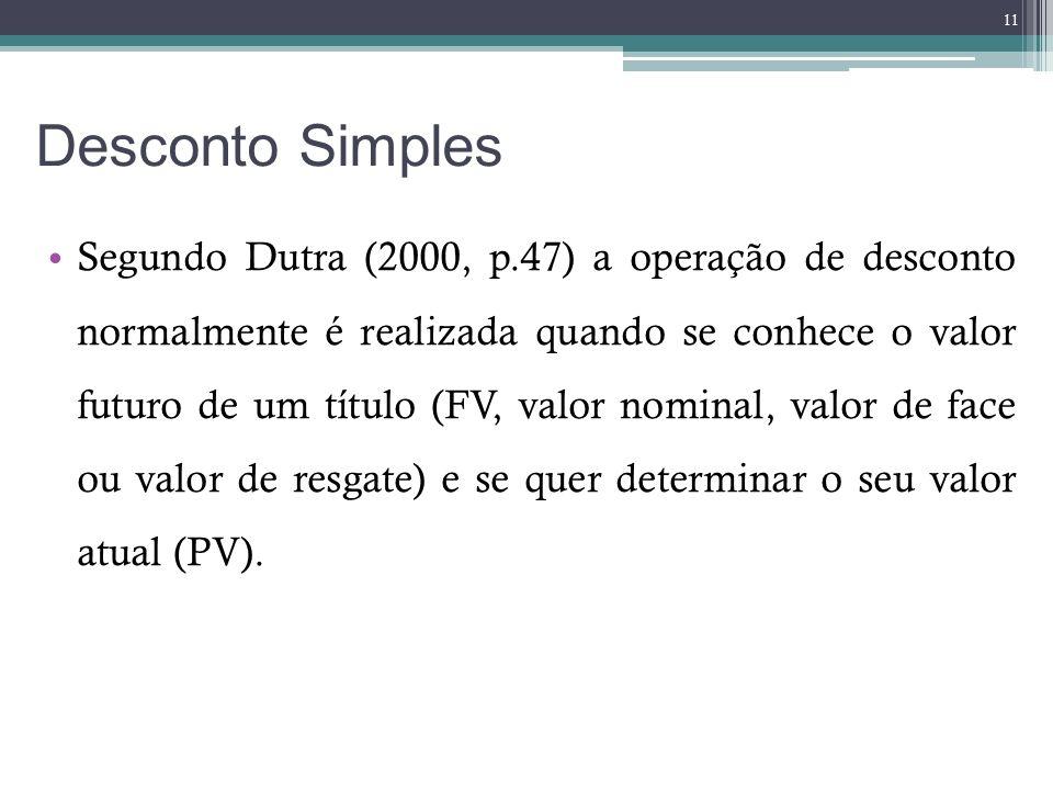 Desconto Simples Segundo Dutra (2000, p.47) a operação de desconto normalmente é realizada quando se conhece o valor futuro de um título (FV, valor no