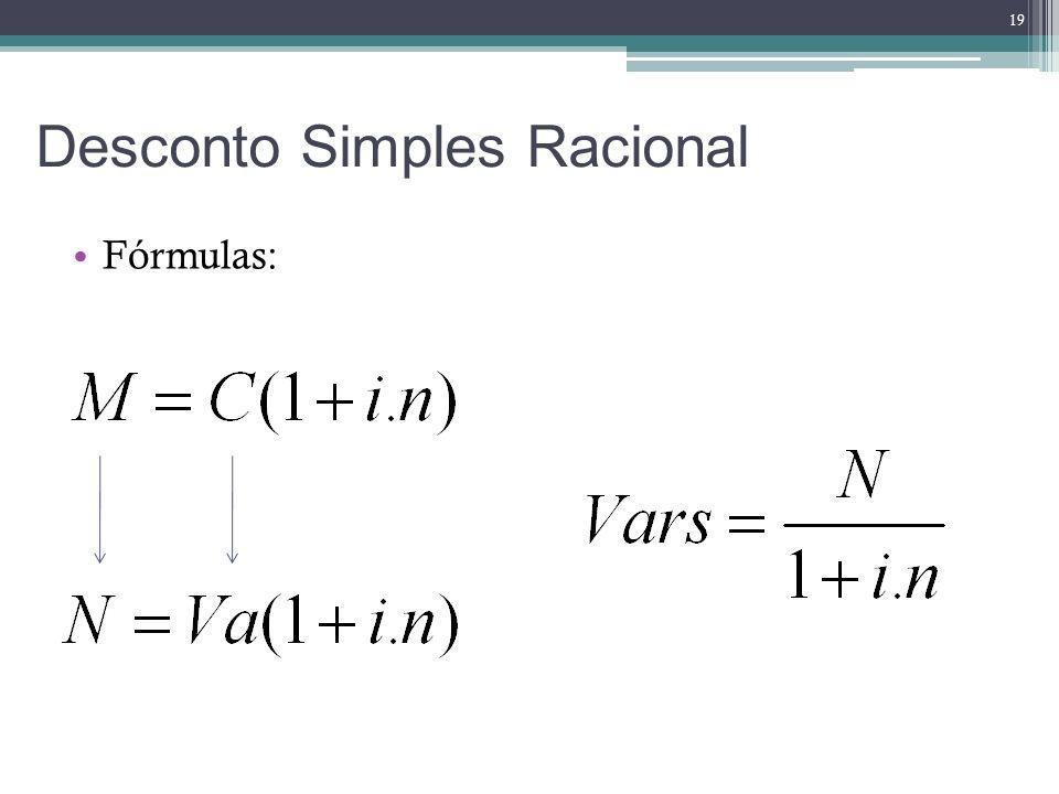 Fórmulas: Desconto Simples Racional 19