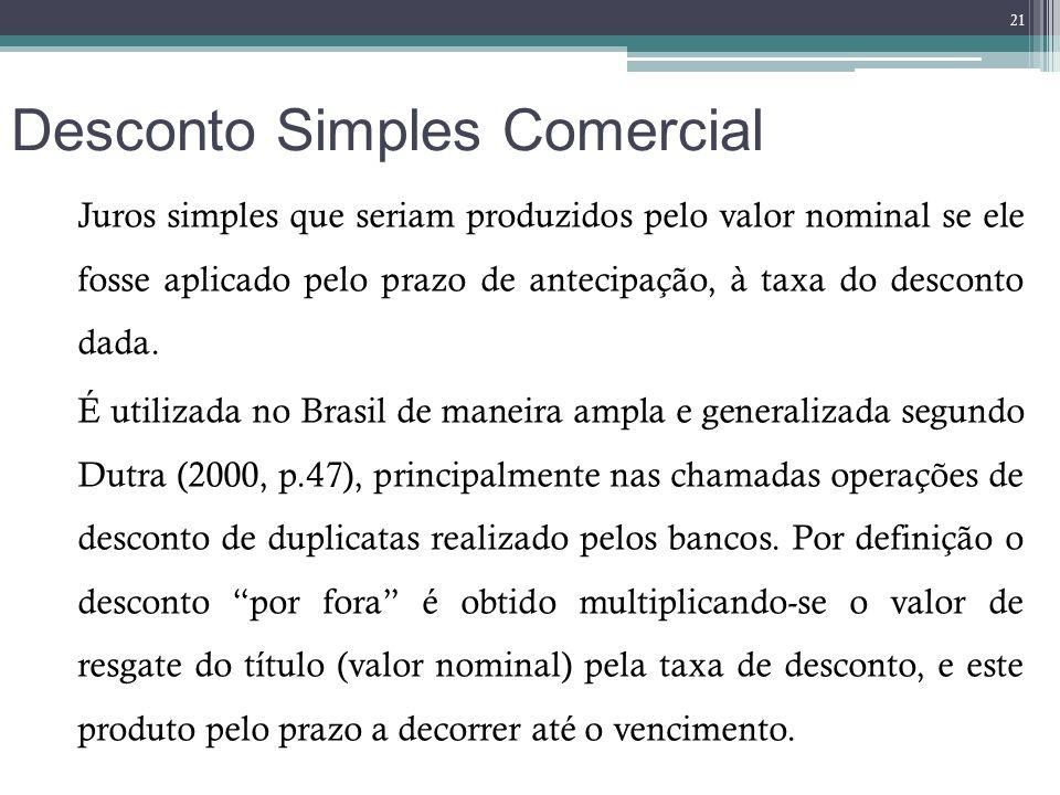 Desconto Simples Comercial Juros simples que seriam produzidos pelo valor nominal se ele fosse aplicado pelo prazo de antecipação, à taxa do desconto