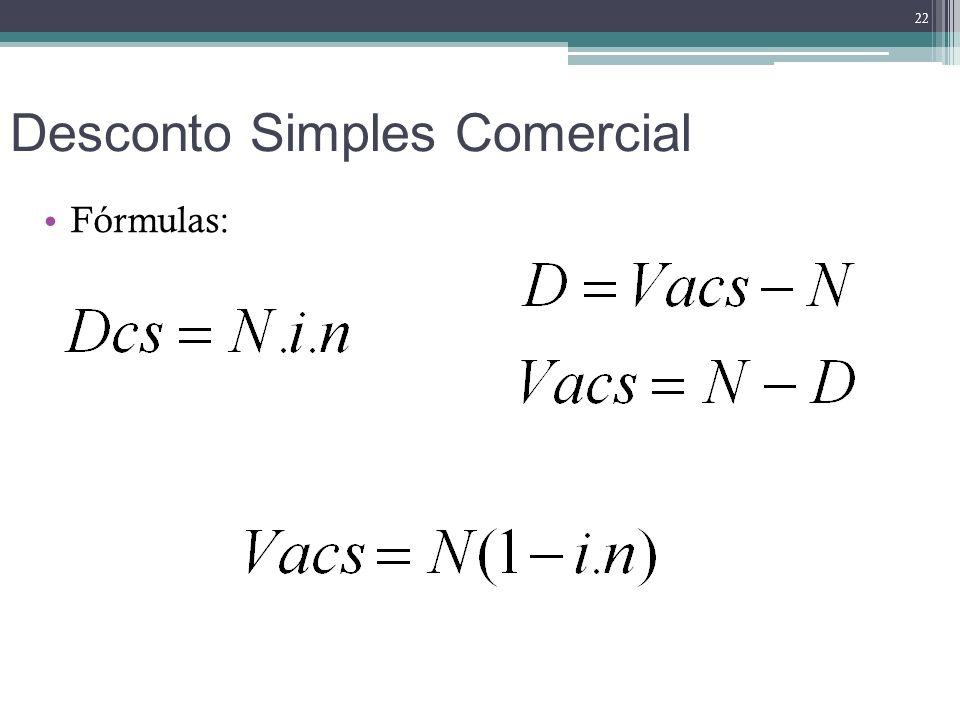 Desconto Simples Comercial Fórmulas: 22