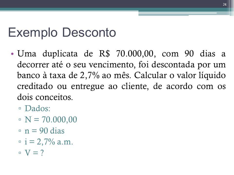 Exemplo Desconto Uma duplicata de R$ 70.000,00, com 90 dias a decorrer até o seu vencimento, foi descontada por um banco à taxa de 2,7% ao mês. Calcul