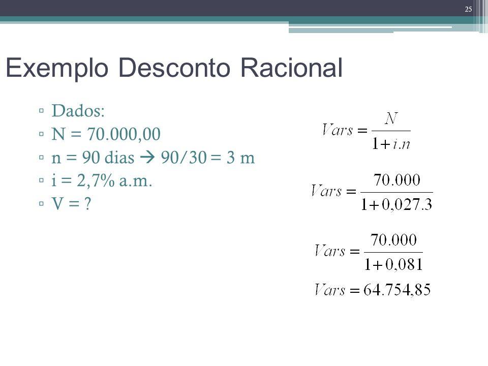 Exemplo Desconto Racional Dados: N = 70.000,00 n = 90 dias 90/30 = 3 m i = 2,7% a.m. V = ? 25