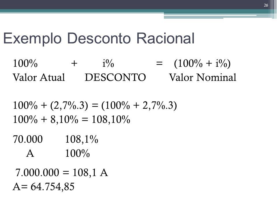 Exemplo Desconto Racional 100% + i% = (100% + i%) Valor Atual DESCONTO Valor Nominal 100% + (2,7%.3) = (100% + 2,7%.3) 100% + 8,10% = 108,10% 70.000 1