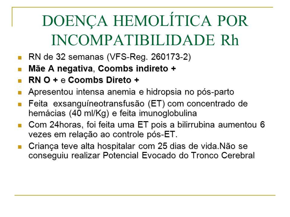 DOENÇA HEMOLÍTICA POR INCOMPATIBILIDADE Rh Diagnóstico: Fetal detecção precoce no caso de antecedentes maternos (perdas fetais anteriores, icterícia neonatal grave em outros filhos, etc.).