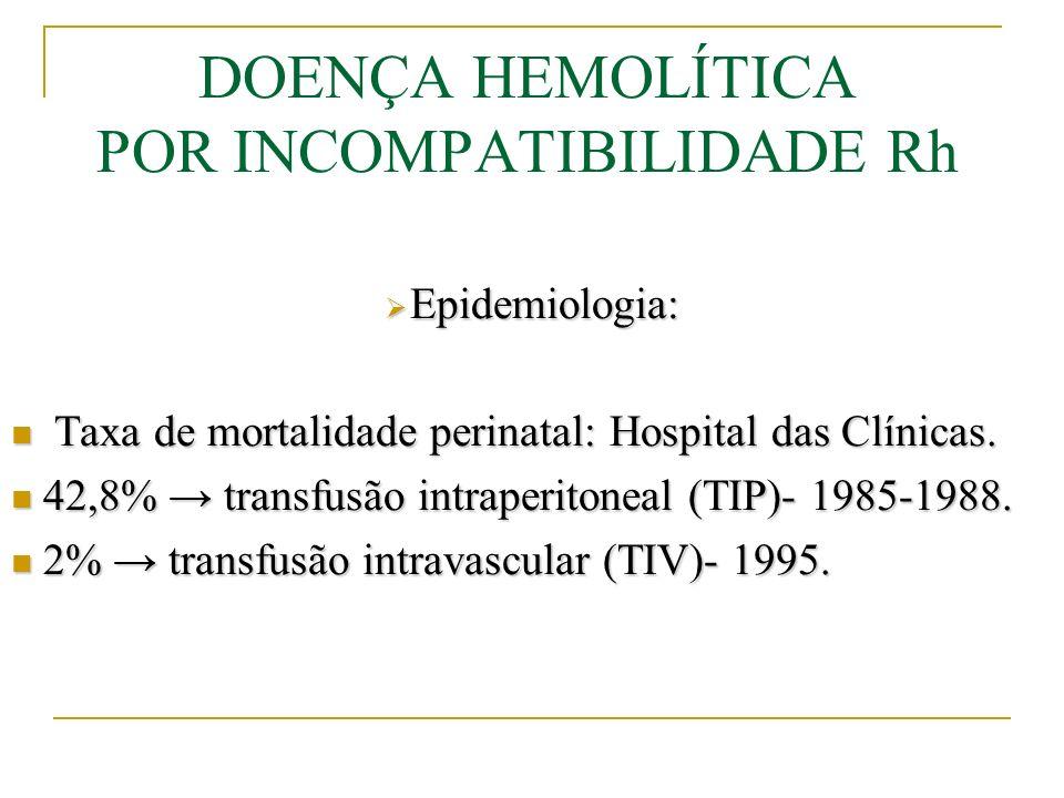 Tratamento: Indicações mais tardias de ET: Indicações mais tardias de ET: - concentrações de bilirrubina superior a 0,5mg/dL/h nas primeiras 24h de vida - Níveis de bilirrubina correspondentes a 1% do peso de nascimento, para RN com até 1800g ao nascimento - Níveis de BI >18,0mg/dL em RN com peso > 1800g - Imediatamente após ET, deve-se iniciar a fototerapia e monitorização de bilirrubinas, hemoglobinas, plaquetas, glicemia e eletrólitos - Repetir ET quando forem atingidas as indicações acima - Administrar 1U de plaquetas imediatamente após a ET - Suporte nutricional, manutenção do equilíbrio térmico e hidreletrolítico.