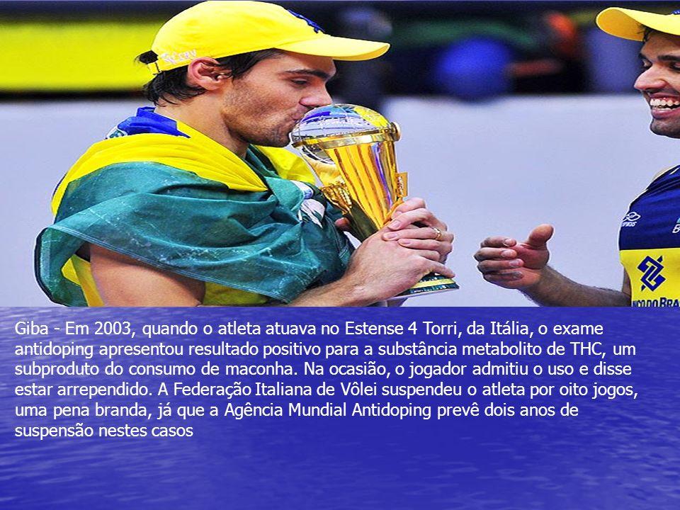 Giba - Em 2003, quando o atleta atuava no Estense 4 Torri, da Itália, o exame antidoping apresentou resultado positivo para a substância metabolito de